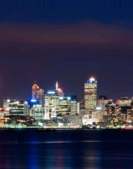Auckland skyline where most of students go to study in New Zealand